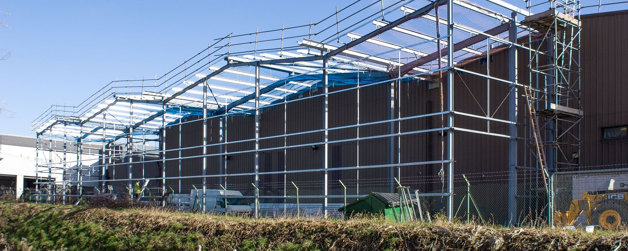 Building structure being erected on Wrexham Industrial Estate
